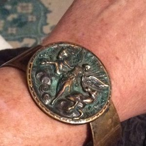 Vintage Art Nouveau Brass Bracelet